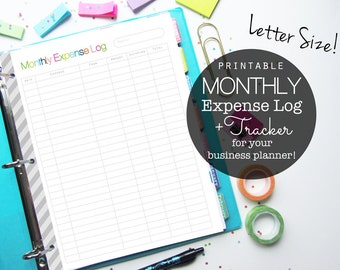 Monthly Expense Log PDF Printable Planner Page, Inserts - Small Business and Etsy Shop, Letter Size