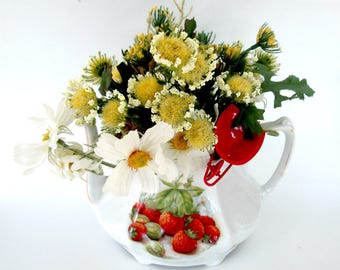 Strawberry Teapot Floral Arrangement // Bavarian China Tea Pot // Mothers Day Get Well Birthday Housewarming Gift for Her