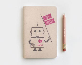 Mini Journal - Robot Party Favor, Top Secret Robot Personalized Notebook Journal & Pencil Set, Kawaii Recycled Stocking Stuffer, 5 Colors