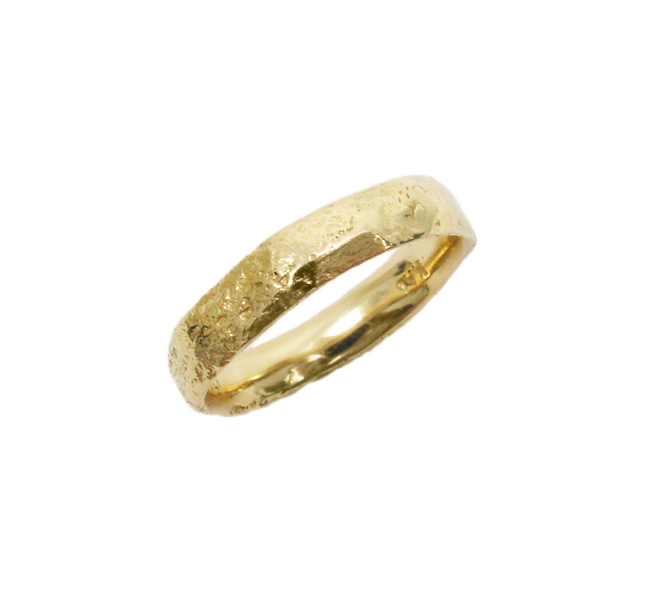 Raw men wedding ring men wedding band 14k yellow gold zoom junglespirit