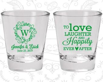 Custom Shot Glasses, Wedding Shot Glasses, Love Laughter Happily Ever After, Wedding Favors, Personalized Glassware, Custom Shot Glass (C61)