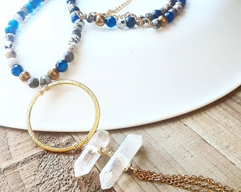 Bohemian chic - lapis lazuli - pyrite necklace