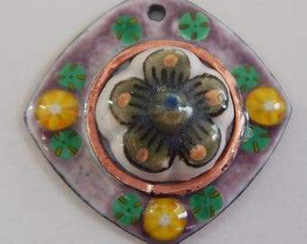 Large Enameled Pendant with Vintage Mexican Ceramic