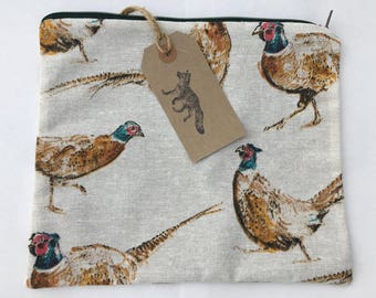 Huge make up bag in a country pheasants design, handmade and fully lined.