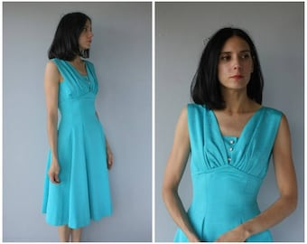Vintage 1950s Party Dress | 50s Dress | 1950s Dress | 1950s Turquoise Dress | Fit and Flare Dress - (small)