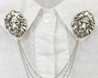 lion collar pins silver, collar chain, collar brooch, lapel pin, lion brooch, lion bin, lion's head brooch, sweater clips, sweater pins