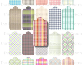 Printable digital collage sheet - Mixed color plaid tags - digital labels - digital tags - Printable Tags - INSTANT DOWNLOAD (cs0039)