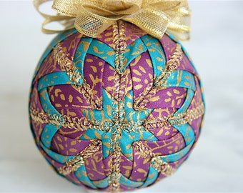 Handmade Quilted Ornament-Teal-Purple-Gold-Oh What Fun!