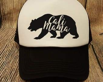 Mama Bear Trucker Hat, Black and White Trucker Hat, California Mom Hat, Cali Mama Hat, Trucker Snapback, Trucker Hat, Trendy Mama Bear Hat