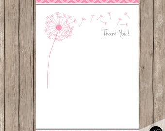 Pink dandelion thank you note,  Pink Thank You Note with dandelions, 4x6 Flat Thank You Note Cards, pink, grey-  INSTANT DOWNLOAD pd2