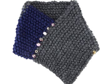 Navy and Gray Story Scarf with Beaded Accents