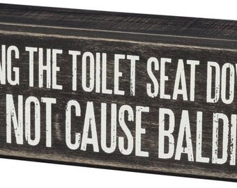 Toliet Seat Distressed Wood Box Sign