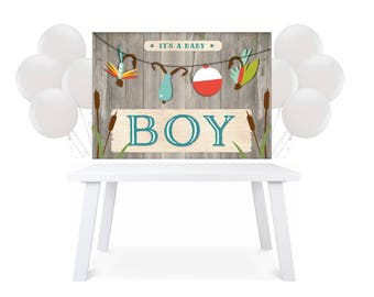 Backdrop Party Table Fishing boy Baby Shower Printable back drop SN873