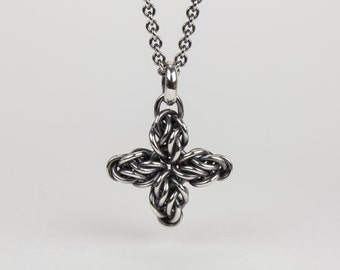 Silver Pendant Necklace Star Flower Oxidized Argentium Sterling Celtic Style Chainmaille on 1.7mm Cable Chain Lobster Clasp 16 18 22 36 inch