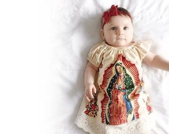 Mexican Our lady of Guadalupe baby dress in Black or Cream sizes Newborn to 24 months