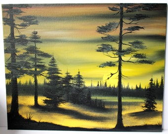 Bob Ross Style Oil Painting Evergreens At Sunset Wilderness Landscape 16 X 20