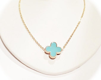Turquoise Blue Modern Clover Necklace on Gold Chain