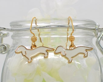 Dachshund Puppy Dog Earrings The Magnificent Pair in White - Doxie Dog Earrings - Puppy Dog Jewelry - Dachshund Earrings - Dachshund Jewelry