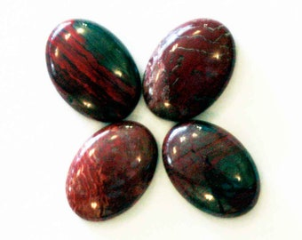 Pack of 4 snakeskin jasper oval cabochons 14mm x 10mm