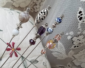 5 Victorian Antique Inspired Hat Pins Vintage Lampwork Beads, Crystals, Filigree Silver, Strong And Sharp. Beautiful To Collect & To Use!