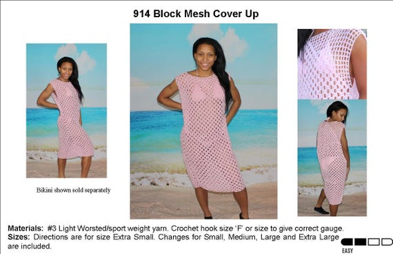 Crochet Block Mesh Beach Cover Up Pattern 914