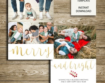 Merry and Bright Holiday Greeting Card - 5x7 Photoshop Template - INSTANT DOWNLOAD