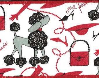 Just a High Fashion Poodle Fabric Postcard2