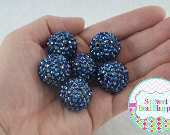 22mm Resin Rhinestone Beads, 6ct, Navy Blue, AB, Aurora Borealis, Round