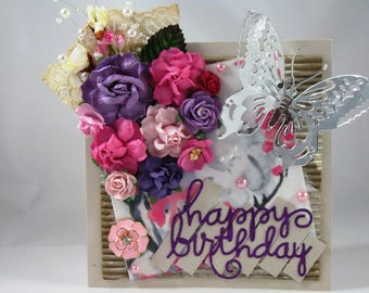 Beautiful Handmade Flower Greeting Card, Embellished, Happy Birthday, Pink, Purple, 3D, Silver Butterfly