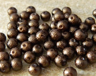Chocolate Brown Textured Beads