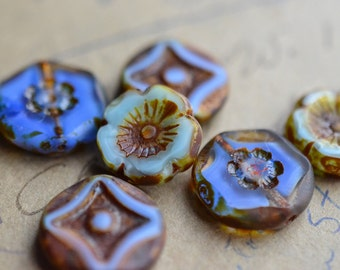 Blue Purple Czech Glass Bead Mix / Rustic 14mm Picasso Bead Mix / Jewelry Findings