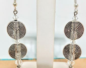 Silver Disc and Crystal Hanging Earrings