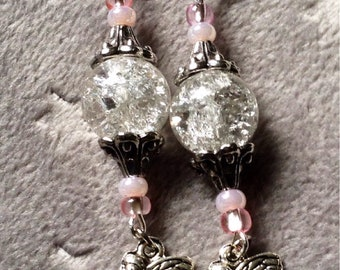Pink and silver tone faerie earrings
