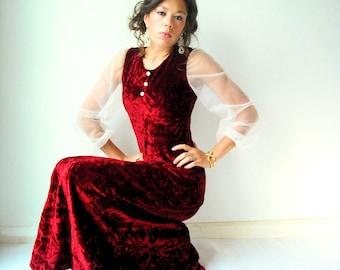 70's Vintage Crimson Red Crushed Velvet Dress / Sheer White Balloon Blouson Sleeves / Long Maxi Gown