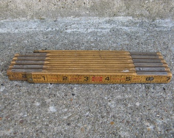 wooden folding ruler Lufkin red end extension rule vintage tool worn shabb ymixed media alter art