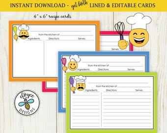 Emoji Recipe Cards 4x6 both lined and editable cards cooking chef emoji character baking No 903