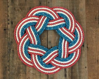 Stars and Stripes Rope Wreath, Patriotic wreath, Independence Day decoration, Upcycled lobster rope, Maine made, Nautical door decor