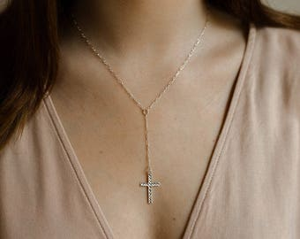 Sterling Cross Lariat- sterling silver cross Y necklace