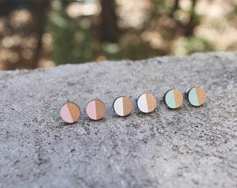 Wood Circle Earrings // Rose Gold, Mint, White, Millennial Pink Studs // Color Block Wood Earrings // Circle Earrings // Half Moon Studs