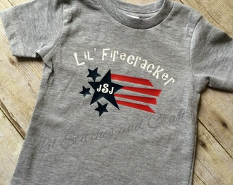 Boy Patriotic Red, White and Blue Monogrammed Top