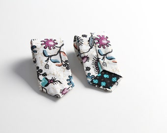 White Batik & Color Floral Tie For Men
