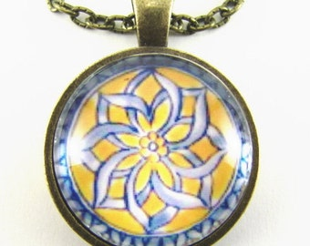 ARABESQUE Necklace -- Moroccan kaleidoscope,  Blue & yellow Spanish tile detail,  Abstract art,   Friendship token