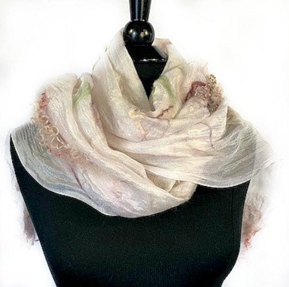 Vintage Style Felted Scarf, Nuno Wrap, Silk Felt Wrap, Felted Shawl, Wedding Wrap, Bridal Wrap, Pink/Burgundy & White, GracefulEweFiberArts