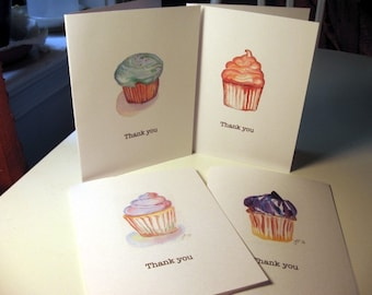 Thank You Cards, Cupcake Art Thank You Cards, Set of 4
