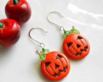 Fall Earrings - Jack O' Lantern Earrings - Pumpkin Earrings - Halloween Earrings - Autumn Earrings - Orange Stone Earrings - Cherry Chick