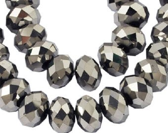 150 pcs Rondelle  FACETED GLASS CRYSTAL Beads 4mm x 3mm Jewellery Making Metallic Platinum