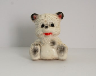 Vintage Chalkware Bear, White Bear Figurine, Carnival Prize, Kitsch
