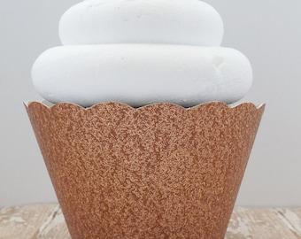 Rose Gold Glitter Cupcake Wrappers, Dessert Holders - Standard and Mini-Birthdays, Weddings, Showers-Dessert Table - Set of 12