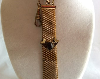 Antique Victorian watch FOB gold tone mesh with amethyst stone