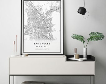 Las Cruces map print | Scandinavian wall art poster | City maps Artwork | NewMexico gifts | Wall Art And Prints | M300